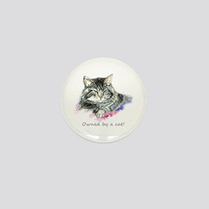Owned By A Cat Fun Quote Mini Button
