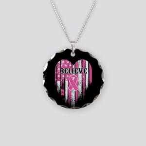 Breast Cancer Believe Necklace Circle Charm
