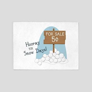 Hooray For Snow Days! 5'x7'Area Rug