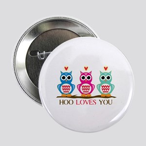 """Hoo Loves You 2.25"""" Button"""