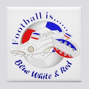 Football is Blue White and Red Tile Coaster