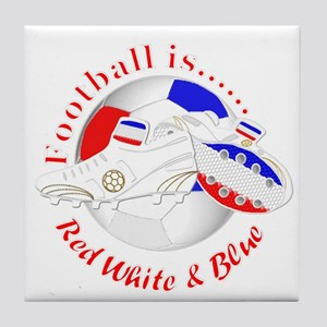 Football is Red White and Blue Tile Coaster