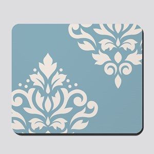 Scroll Damask Art I Crm On Blue Mousepad