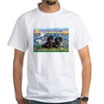 Sunrise Lilies / Doxie's Rule White T-Shirt