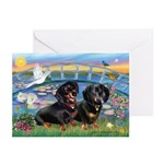 Sunrise Lilies / Doxie's Rule Greeting Cards (Pk o