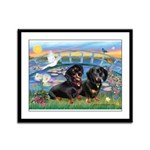 Sunrise Lilies / Doxie's Rule Framed Panel Print