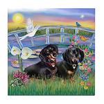 Sunrise Lilies / Doxie's Rule Tile Coaster