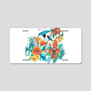 Tropical Flowers Aluminum License Plate