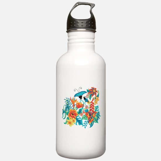 Tropical Flowers Water Bottle