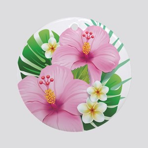 Dual Pink Hibiscus Ornament (Round)