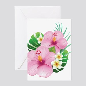 Dual Pink Hibiscus Greeting Cards
