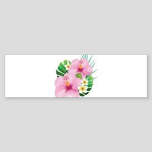 Dual Pink Hibiscus Bumper Sticker