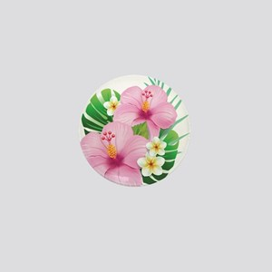 Dual Pink Hibiscus Mini Button