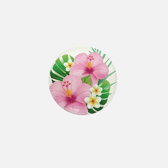 Dual Pink Hibiscus Mini Button