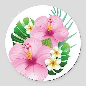 Dual Pink Hibiscus Round Car Magnet