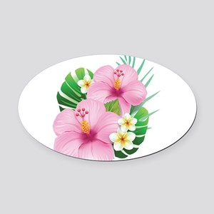 Dual Pink Hibiscus Oval Car Magnet