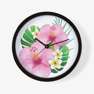Dual Pink Hibiscus Wall Clock