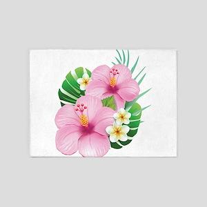 Dual Pink Hibiscus 5'x7'Area Rug