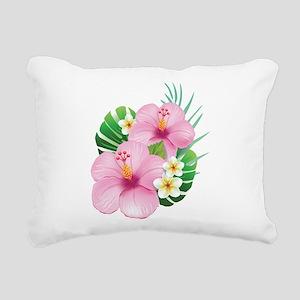 Dual Pink Hibiscus Rectangular Canvas Pillow