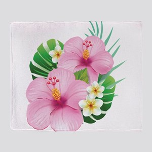 Dual Pink Hibiscus Throw Blanket