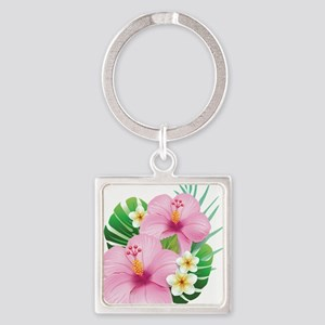 Dual Pink Hibiscus Keychains