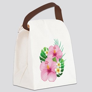 Dual Pink Hibiscus Canvas Lunch Bag