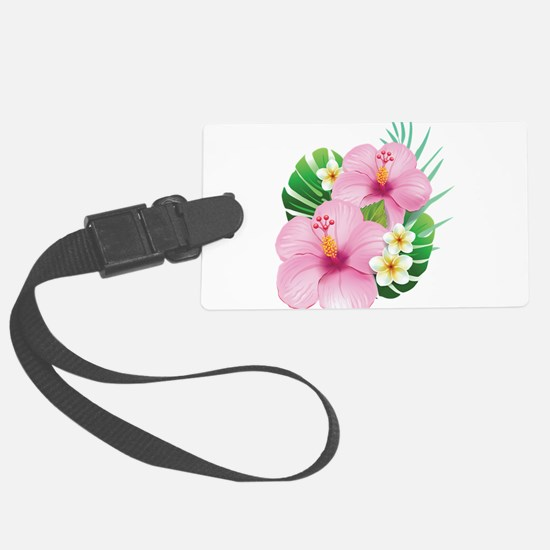 Dual Pink Hibiscus Luggage Tag