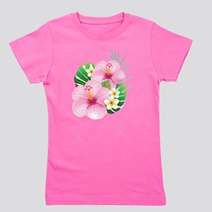 Dual Pink Hibiscus Girl's Tee