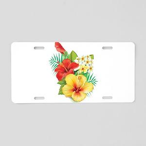 Tropical Hibiscus Aluminum License Plate