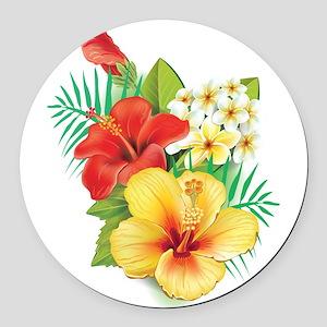 Tropical Hibiscus Round Car Magnet