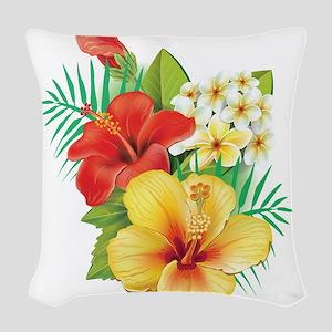 Tropical Hibiscus Woven Throw Pillow