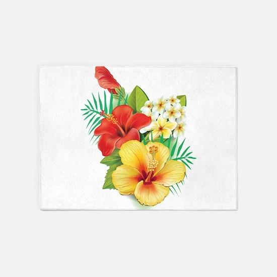 Tropical Hibiscus 5'x7'Area Rug