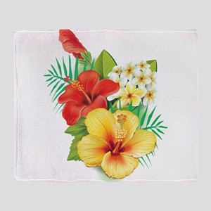 Tropical Hibiscus Throw Blanket