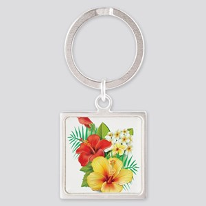 Tropical Hibiscus Keychains