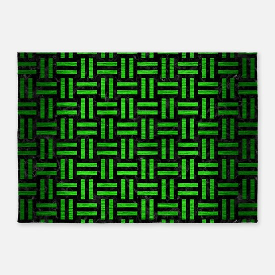 WOVEN1 BLACK MARBLE & GREEN BRUSHED 5'x7'Area Rug