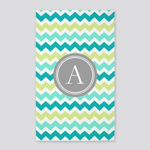 Teal Lime Chevron Monogram 3'x5' Area Rug
