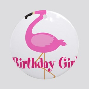 Birthday Girl Pink Flamingo Ornament (Round)