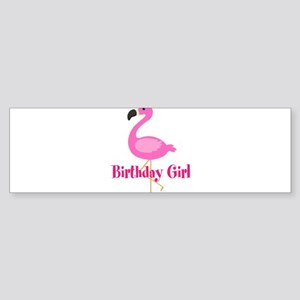 Birthday Girl Pink Flamingo Bumper Sticker