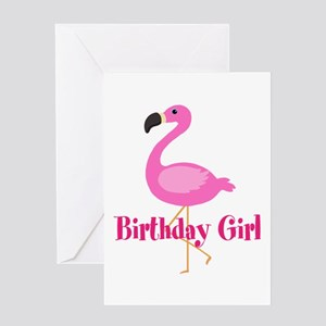 Birthday Girl Pink Flamingo Greeting Cards