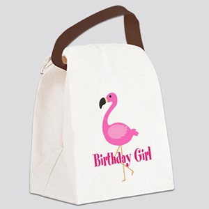 Birthday Girl Pink Flamingo Canvas Lunch Bag