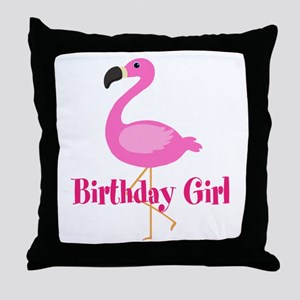 Birthday Girl Pink Flamingo Throw Pillow