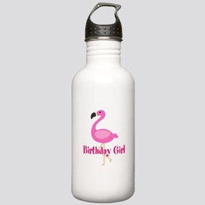 Birthday Girl Pink Flamingo Water Bottle