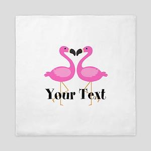 Personalizable Pink Flamingos Queen Duvet