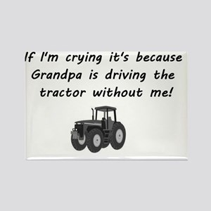 Grandpa driving tractor Rectangle Magnet