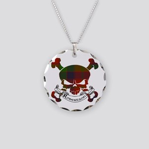 Robertson Tartan Skull Necklace Circle Charm