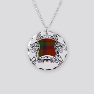 Robertson Tartan Shield Necklace Circle Charm