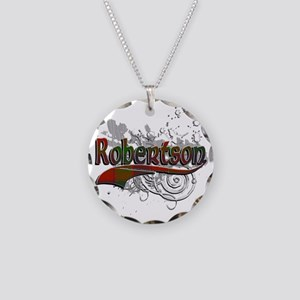 Robertson Tartan Grunge Necklace Circle Charm