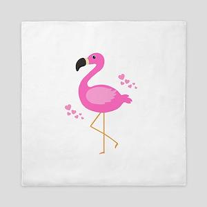 Pink Flamingo Hearts Queen Duvet