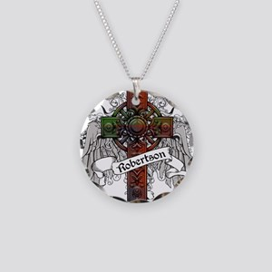 Robertson Tartan Cross Necklace Circle Charm