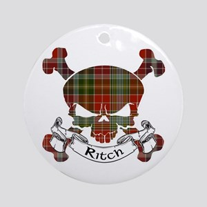 Ritch Tartan Skull Ornament (Round)